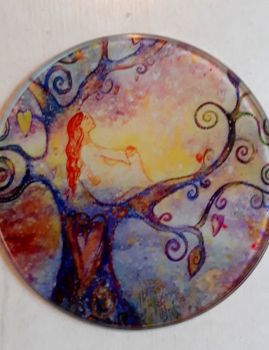 Moon Gazing Glass Art Coaster