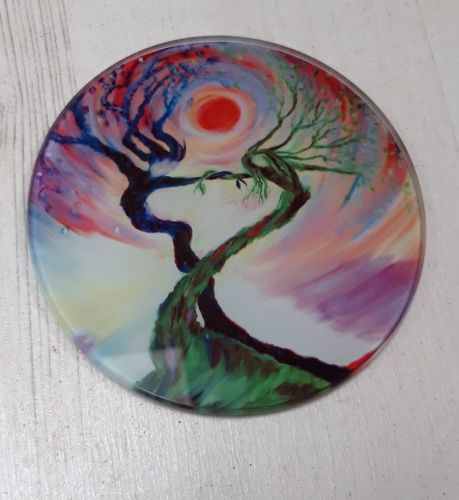 Dancing tree spirits design Glass Art Coaster