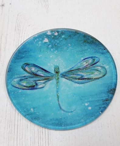 Dragonfly design Glass Art Coaster