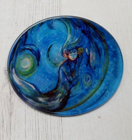 Mermaid design Glass Art Coaster