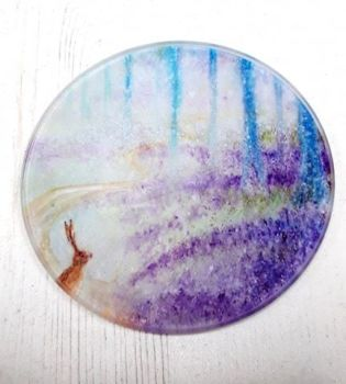 Hare in magical bluebells design Glass Art Coaster