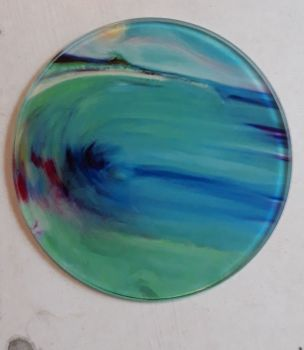 St Ives Mermaid design Glass Art Coaster