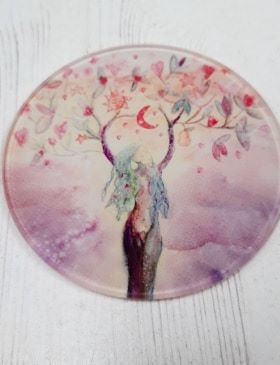 Goddess of Abundance design Glass Art Coaster