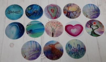 SET OF FOUR Glass Art Coasters of YOUR CHOICE