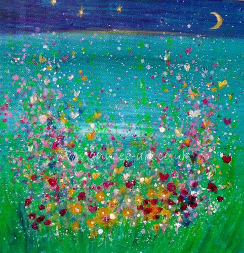 'dreams of joy over a new moon' original painting