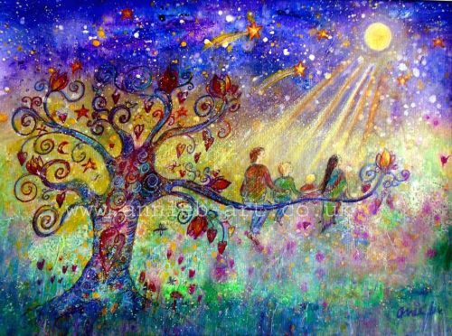 'Making time for moon and star gazing' original painting
