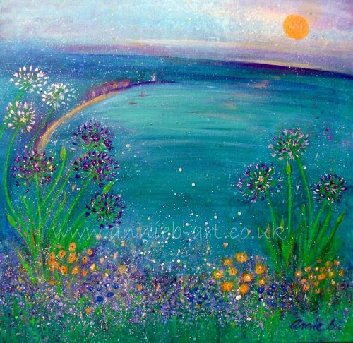 Agapanthus flowers over St Ives bay print