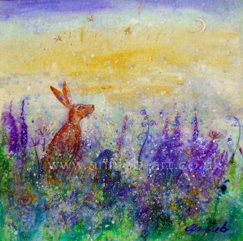 'hare under crescent moon' original painting