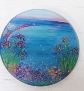 Agapanthus flowers over St. Ives bay design Glass Art Coaster