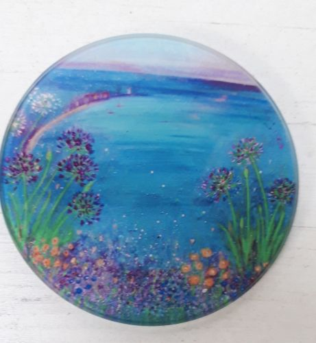 Agapanthus glowers over St. Ives bay design Glass Art Coaster