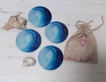 Set of Four - Feel the love of the Ocean Glass Art Coasters