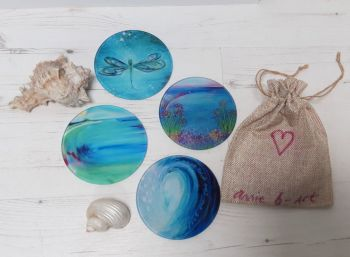Set of Four - magical turquoise Glass Art Coasters