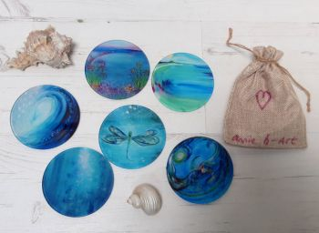 SET OF Six Glass Art Coasters  Turquoise Ocean