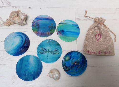 SET OF Six Glass Art Coasters
