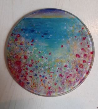 Cornish wild flowers over the ocean design Glass Art Coaster