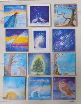 A mixed pack of x 12 Christmas cards. Blank inside.