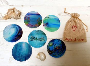 SET OF Six Glass Art Coasters  OF YOUR CHOICE