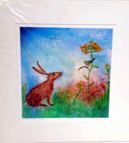 'hare and the song bird' mounted print