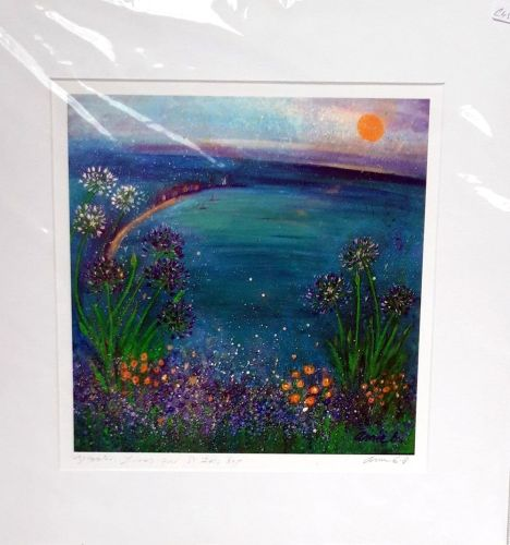 'Agapanthus flowers over St Ives bay'  mounted print
