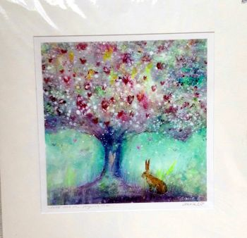 'Hare and the magical tree'  mounted print