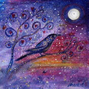 'Black crow under a winter sky' original painting