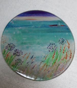 WIth love from Gwithian design Glass Art Coaster