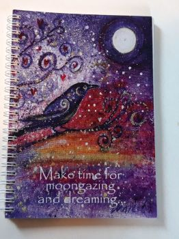 Crow - Make time for moon gazing and dreaming notebook