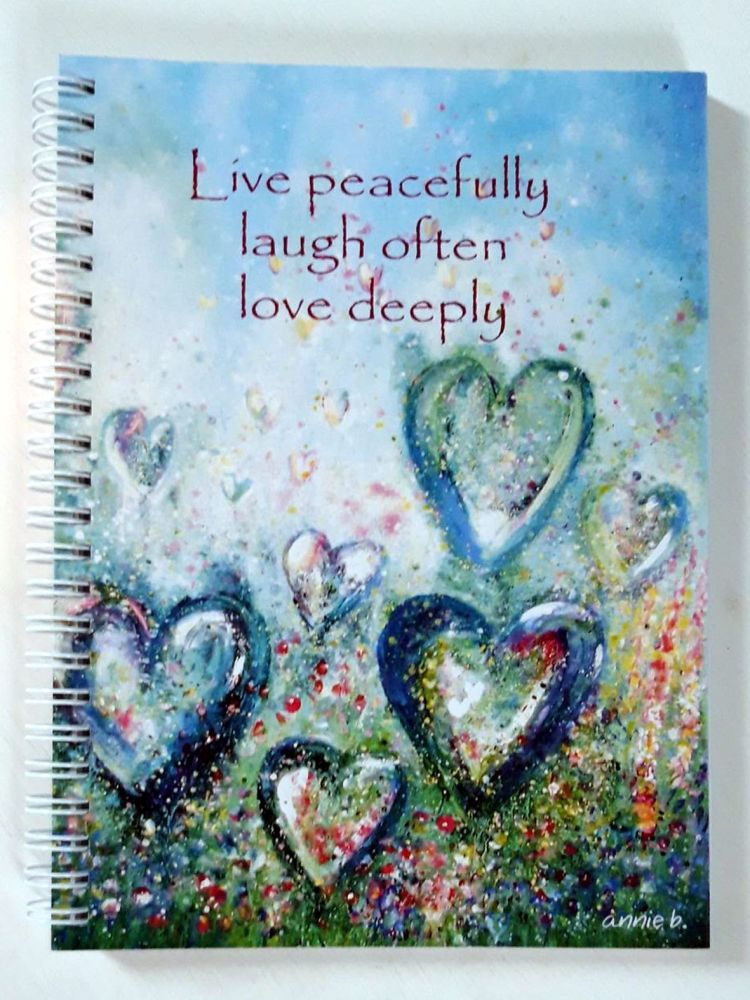 Life peacefully laugh often love deeply hearts notebook
