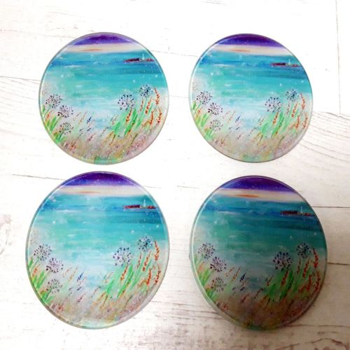 Set of Four - With love from Gwithian Glass Art Coasters