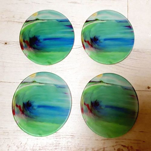 Set of Four - St Ives Mermaid Glass Art Coasters
