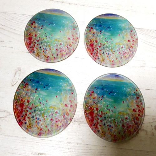 Set of Four - Cornish wild flowers over the ocean Glass Art Coasters