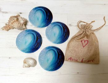 Set of Four - Feel the love of the ocean-  Glass Art Coasters