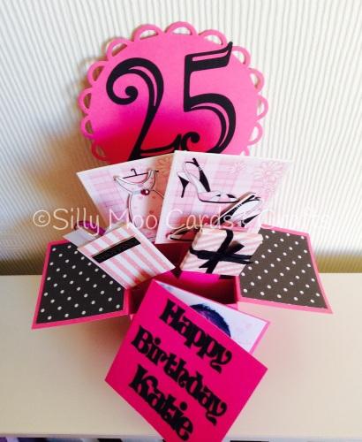 Handmade Personalised Pink Girly Pop Up Box 25th Birthday Card