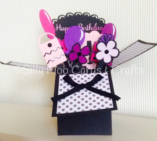 Handmade Personalised Flowers Balloons Pop Up Box Birthday
