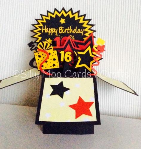 Handmade Personalised Stars Swirls Pop Up Box 16th Birthday Card