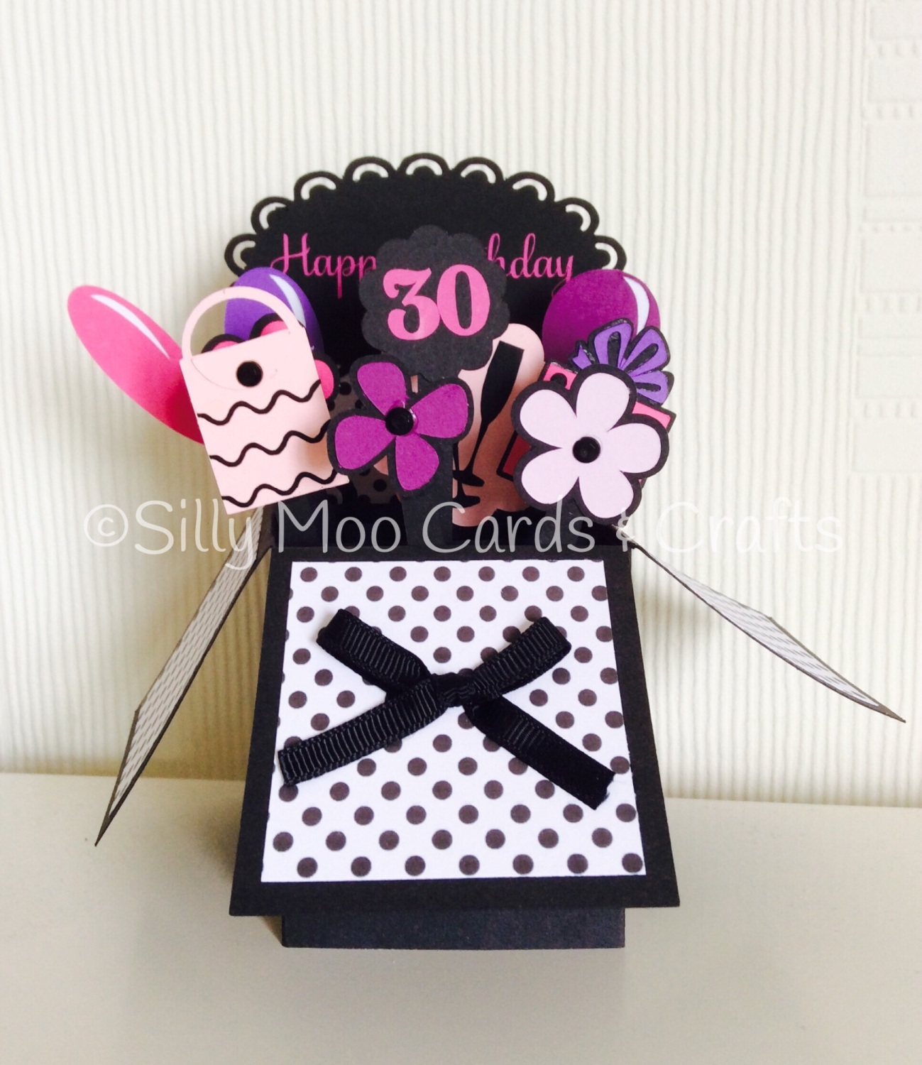 Handmade Personalised Flowers Balloons Pop Up Box 30th Birthday Card
