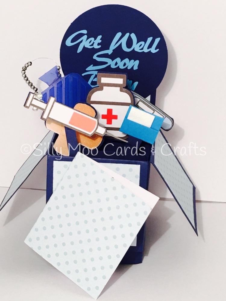 Handmade Personalised Get Well Soon Pop Up Box Birthday Card