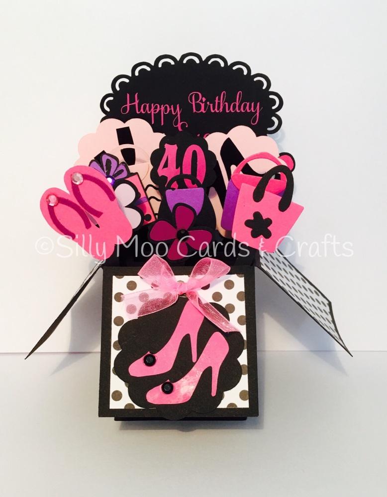 Handmade Personalised Pink Girly Pop Up Box Shoeas And Handbag Birthday
