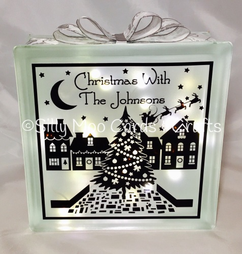personalised christmas glass block light christmas with family with decorative ribbon - Christmas Glass Blocks