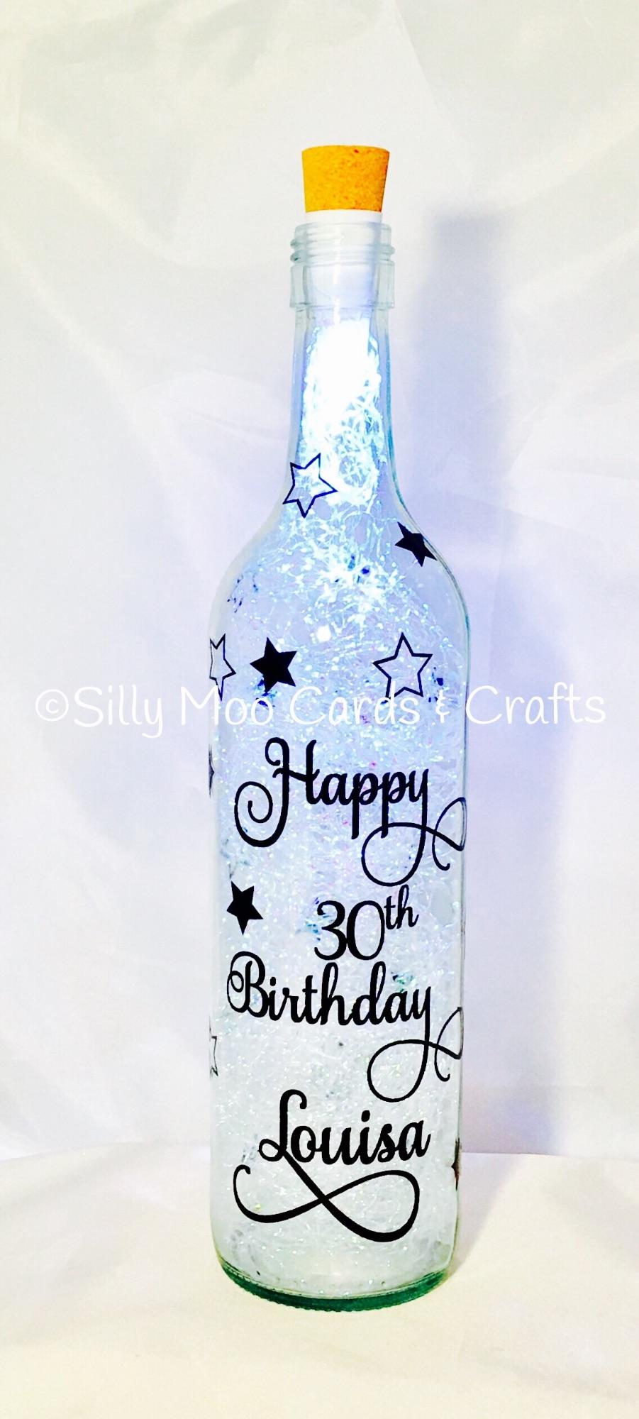 Happy 30th Birthday Personalised Wine Upcycled Wine Bottle