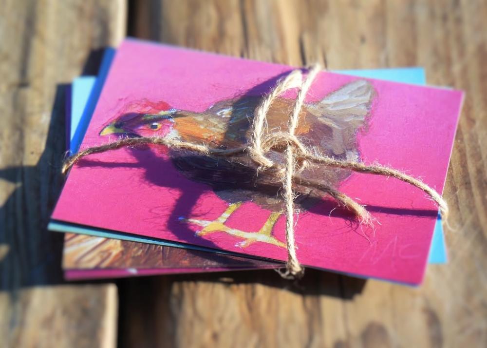 6 hen postcard bundle