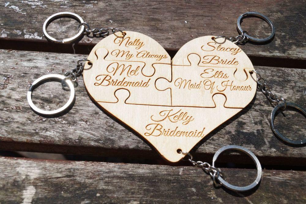 Wooden bridal keyring, wedding favour, bridal party gift