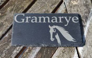 personalised slate house sign with horse image
