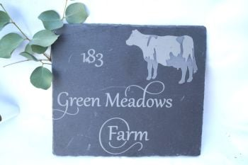 Personalised Cow Slate House Sign