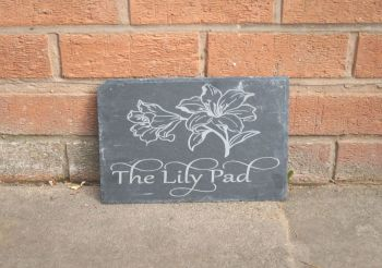 Personalised lily flower house sign