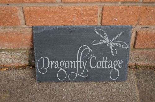 personalised slate house sign with dragonfly