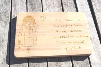 Personalised wooden Mrs Browns Boys cheese board, Good Mammys cult TV, funny chopping board, cutting board serving platter