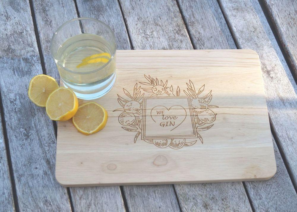 Gin board, gin chopping board, lemon cutting board, lemon chopping board, p