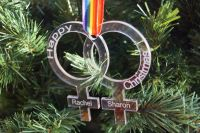 Pride, Love is Love,  personalised Christmas decoration, same sex couple, wedding decorations, LGBT, mrs and mrs, personalised same sex couple