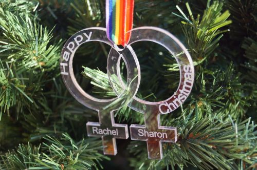 Pride, Love is Love,  personalised Christmas decoration, same sex couple, w